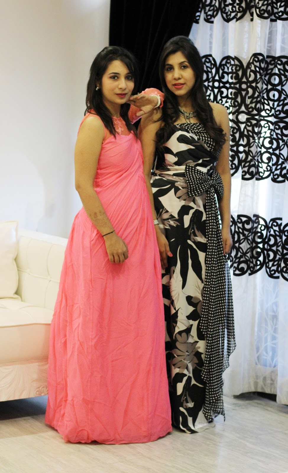 red carpet look, indian girls with long gowns, peach gown, black and white gown,