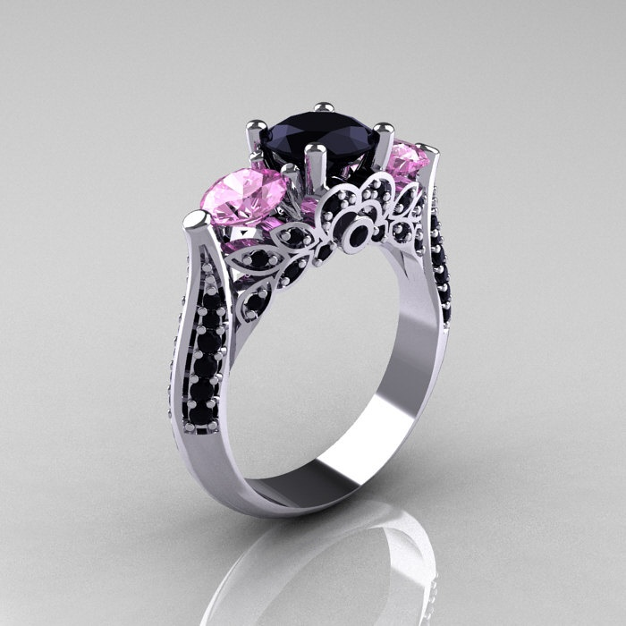 14K White Gold Three Stone Light Pink Sapphire Black Diamond Solitaire Engagement Ring