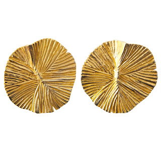 Vintage 1980's YSL clip-on gold textured earrings.