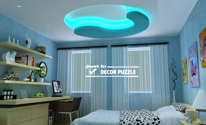 POP Designs For Bedroom Roof False Ceiling LED Lights