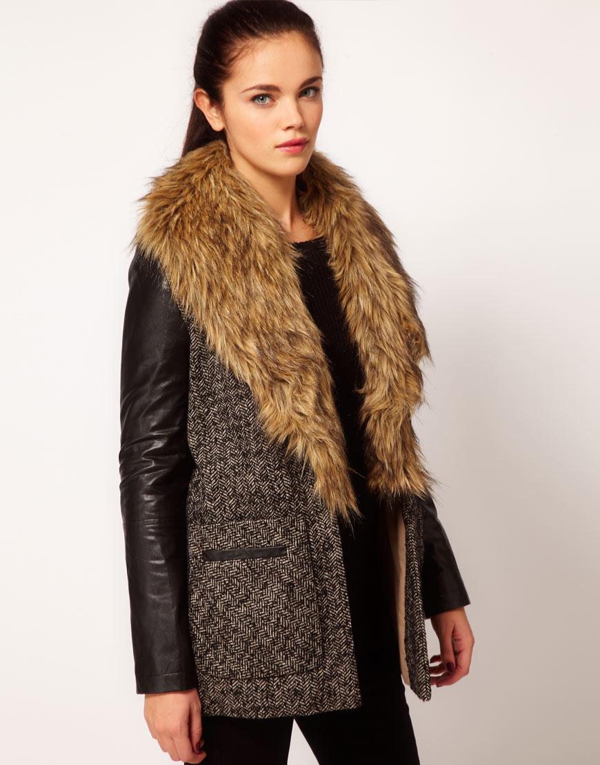 ASOS- River Island faux fur collar coat £85.00 €118.07 $149.52