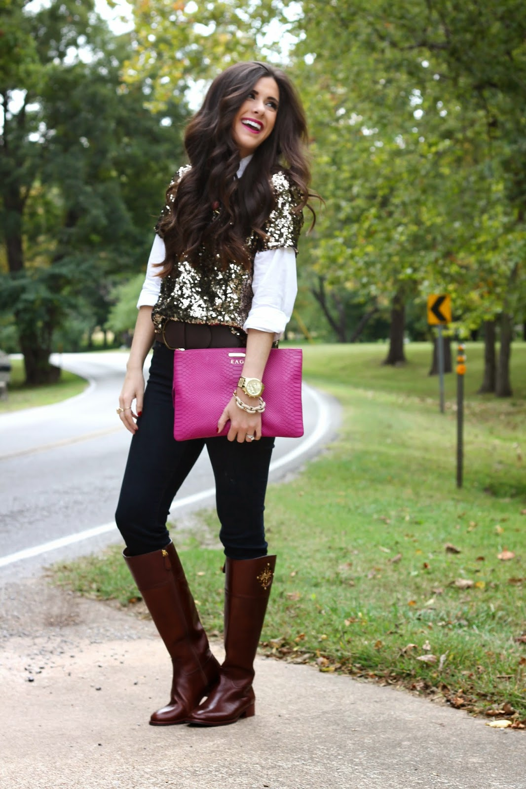 mac rebel, brunette, fashion blog, fall fashion, pinterest fall fashion, emily gemma, the sweetest thing blog, jcrew, jcrew sequin shirt, tory burch boots, kiernan boots, rebecca minkoff, plaid and sequins