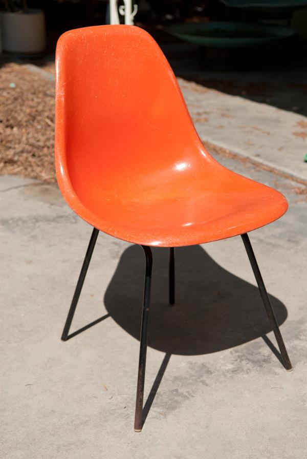 Heygreenie Vintage Herman Miller Orange Fiberglass Eames