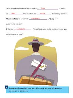 Respuestas Apoyo Primaria Español 2do grado Bloque 3 lección 20 Los verbos del cuento