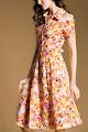 New 2016 Short Sleeve Bright Spring Petals Flare Dress