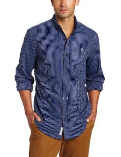 Original Penguin Men's Long Sleeve Button Down Collar Shirt, Estate Blue, Large