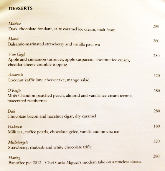 Opus Restaurant Menu