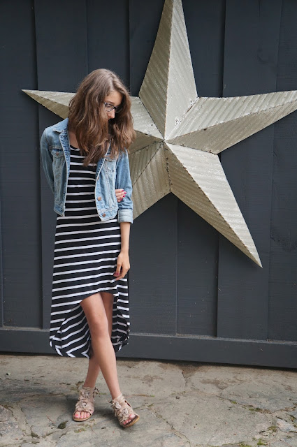 Industrial star backdrop, cottage, black and white striped high-low /mullet dress, American Eagle Jean Jacket, Aldo nude floral sandals