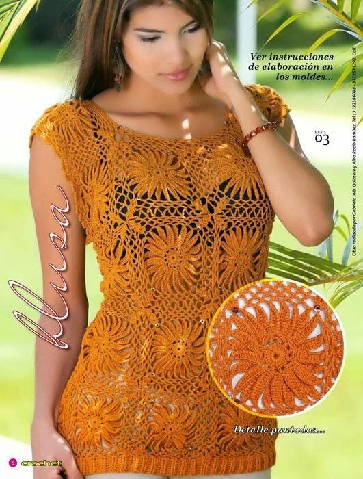 Blusa de diseño juvenil al crochet