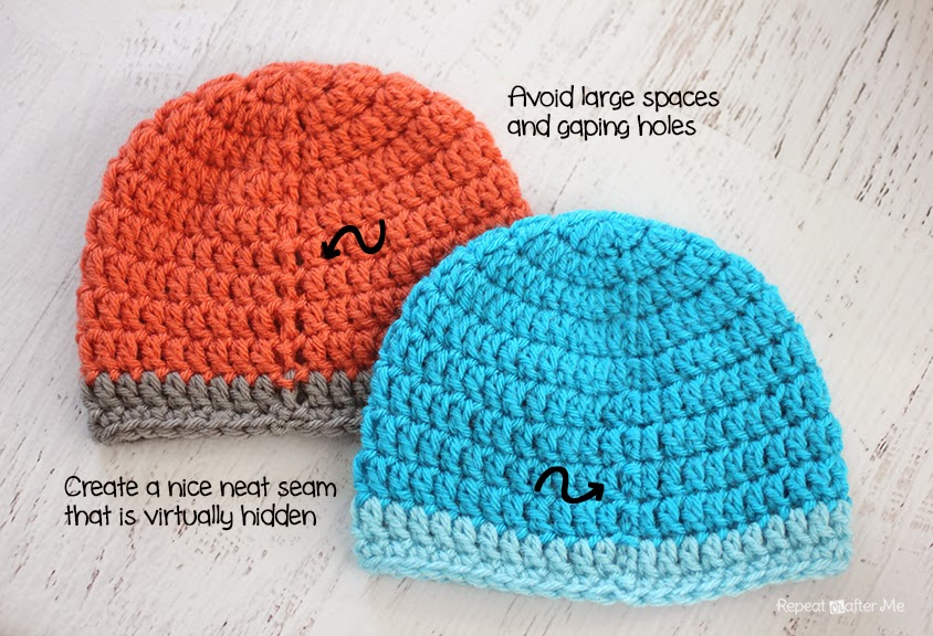 Repeat Crafter Me: How to Create a Hidden Seam on Crochet Hats