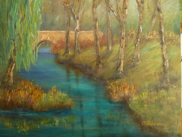 Stream with trees and bridge painting
