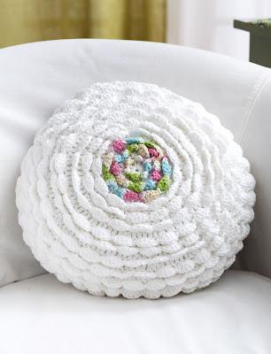 идеи для вязания, подушка круглая