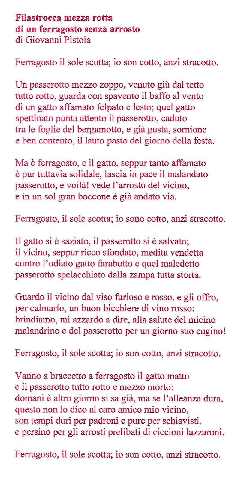 Assez Giovanni Pistoia: FILASTROCCA MEZZA ROTTA DI UN FERRAGOSTO SENZA  RH14