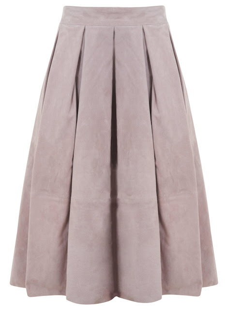 pink suede skirt, pink midi skirt, pink suede midi skirt, selfridge pink skirt, pale pink midi skirt, pink box pleat skirt,