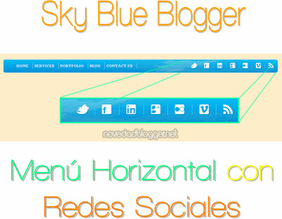 Menu horizontal con redes sociales - Sky Blue Blogger