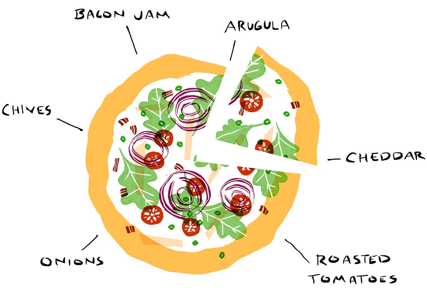 bacon jam pizza roasted tomatoes illustration
