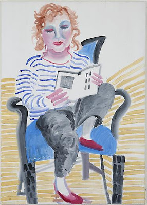 David Hockney - Celia with a foot on her chair, 1984