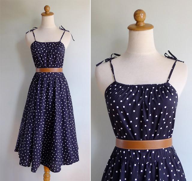 vintage 80s polka dot sun dress