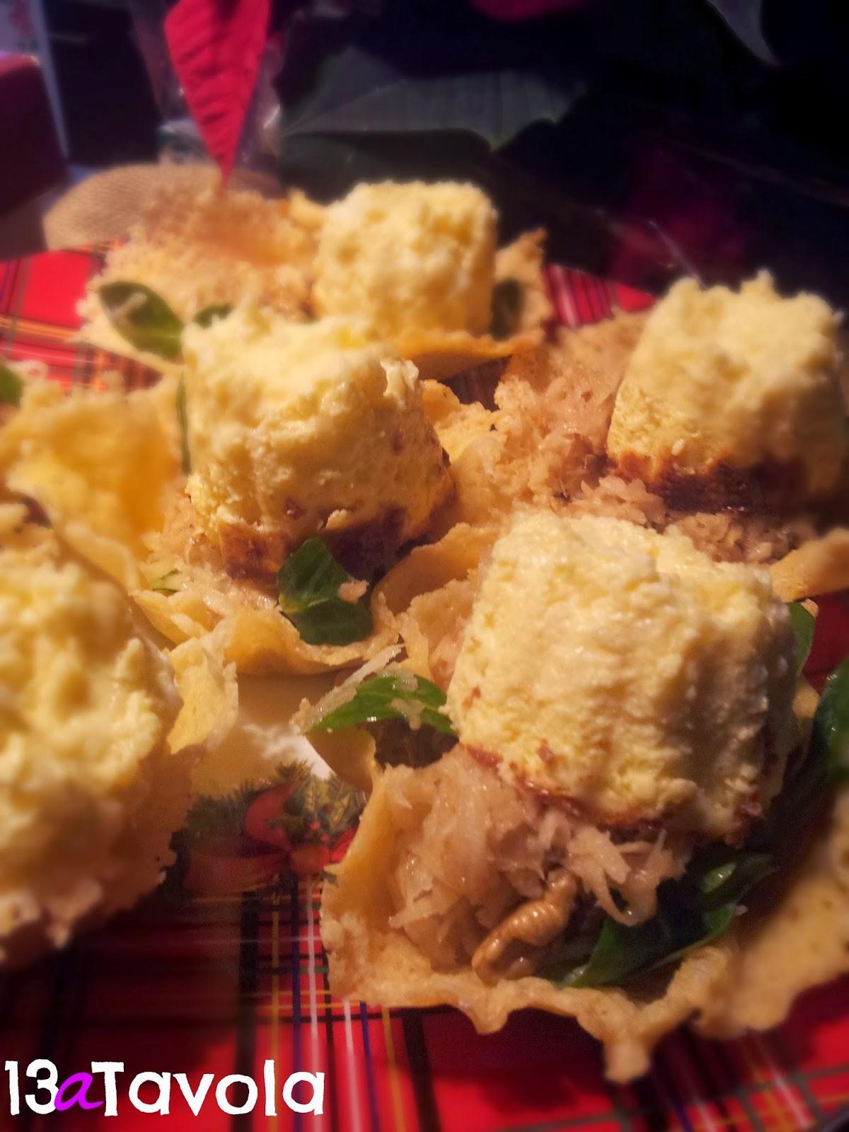 flan di parmigiano e insalatina di sedano rapa