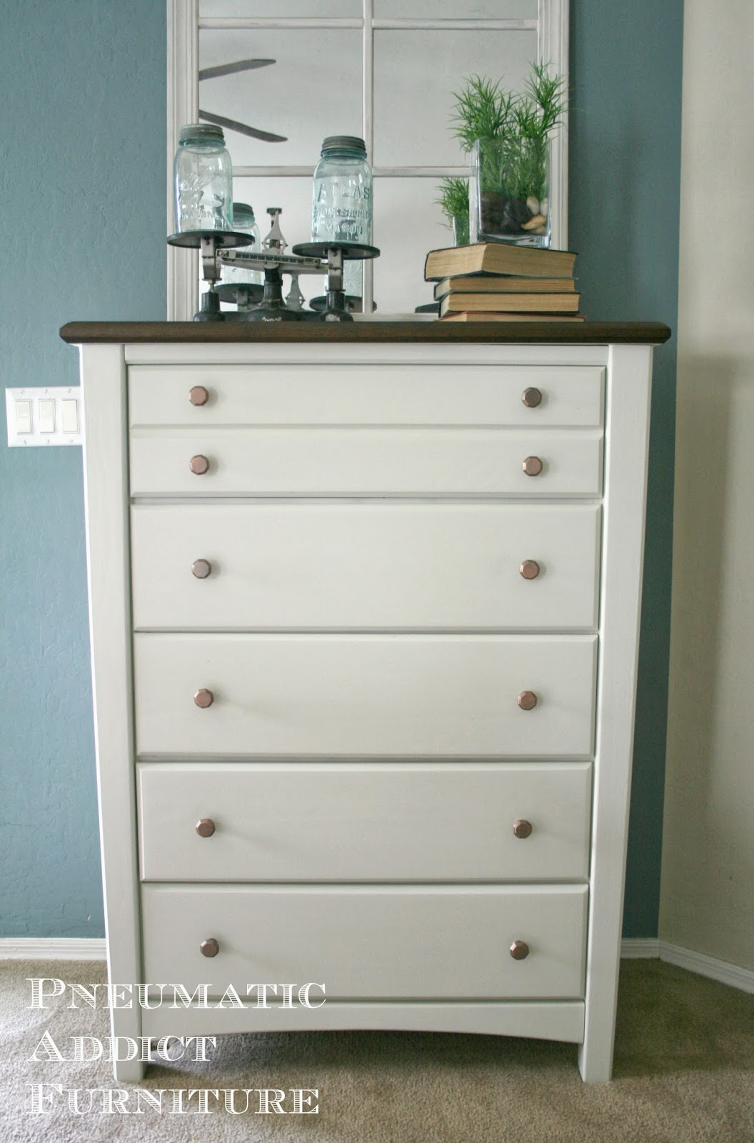I Was Really Glad This Dresser Was Solid Oak And I Could Strip The Top Down  To Bare Wood. I Love The Look Of A Stained Wood Top And Painted Base.