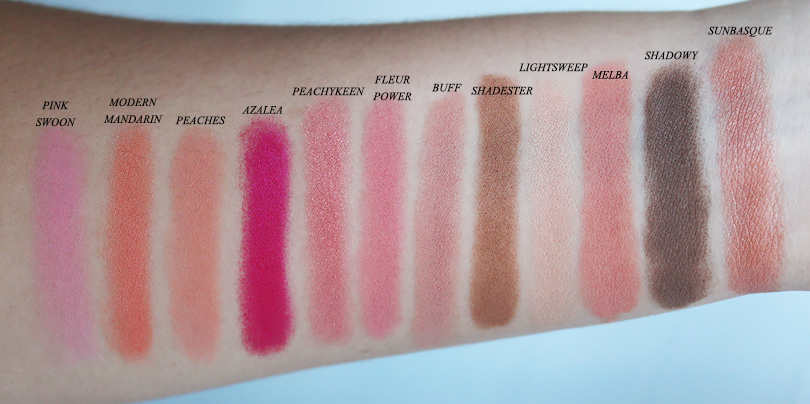 review swatches mac pro double blush palette sunbasque modern mandarin fleur power peachykeen shadowy vs shadester