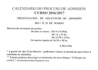 CALENDARIO PROCESO ADMISIÓN 2015-2016