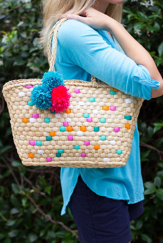 painted summer tote bag