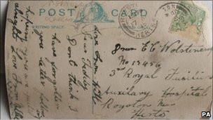 110418025145 postcard sent to pte wolstencroft  304x171 pa nocredit Kartu pos masa Perang Dunia I ditemukan
