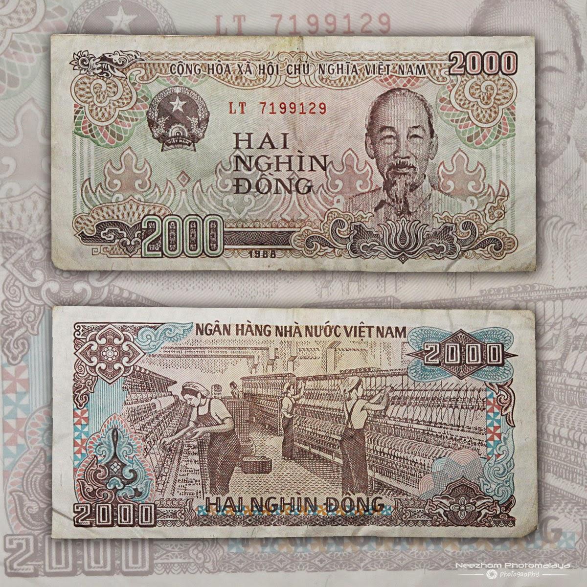 Vietnam 2000 Dong 1988 banknote