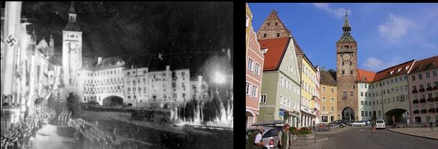 Das Stadtzentrum von Landsberg, die historische Altstadt, liegt eingebettet zwischen dem Lech und seinem östlichen Hochufer. Die Stadtviertel westlich des Lechs (Katharinenvorstadt, Neuerpfting, Weststadt, Schwaighofsiedlung – heute der weitaus größte Teil des Stadtgebietes) und auf dem östlichen Hochufer (Bayervorstadt) entstanden erst ab dem 19. Jahrhundert.  Zur Stadt Landsberg gehören die Weiler Sandau und Pössing sowie die bis zur Gemeindegebietsreform selbstständigen Gemeinden Ellighofen, Erpfting (mit Friedheim, Geratshof und Mittelstetten), Pitzling (mit Pöring) und Reisch (mit Thalhofen). Lechwehr mit der Altstadt von Landsberg am Lech im Hintergrund Klimatabelle Landsberg am Lech Klimadiagramm J  F  M  A  M  J  J  A  S  O  N  D     89   2 -5       84   3 -4       91   6 -1       127   10 2       161   15 6       216   18 9       199   20 11       177   19 11       118   17 8       89   12 4       94   6 0       85   3 -4 Temperatur in °C,  Niederschlag in mm Quelle: wetterkontor.de Monatliche Durchschnittstemperaturen und -niederschläge für Landsberg am Lech  Jan  Feb  Mär  Apr  Mai  Jun  Jul  Aug  Sep  Okt  Nov  Dez    Max. Temperatur (°C)  2  3  6  10  15  18  20  19  17  12  6  3  Ø  11 Min. Temperatur (°C)  −5  −4  −1  2  6  9  11  11  8  4  0  −4  Ø  3,1 Niederschlag (mm)  89  84  91  127  161  216  199  177  118  89  94  85  Σ  1.530 Regentage (d)  16  15  15  16  17  19  18  18  14  13  14  15  Σ  190 Luftfeuchtigkeit (%)  81  78  74  72  72  75  75  77  79  81  82  82  Ø  77,3 Quelle: wetterkontor.de Geschichte Mittelalter  Um 1135 wurde eine Siedlung namens Phetine auf dem späteren Stadtgebiet Landsbergs urkundlich erwähnt, die aber noch kein Stadtrecht hatte. Herzog Heinrich der Löwe verlegte im Jahre 1158 die bedeutende Salzstraße auf eine südlichere Route, wobei er bei Phetine eine Brücke über den Lech bauen ließ. Zuvor führte die Salzstraße bei Kaufering mittels einer Furt über den Fluss. Zum Schutz dieser Brücke errichtete er unter Einbeziehu