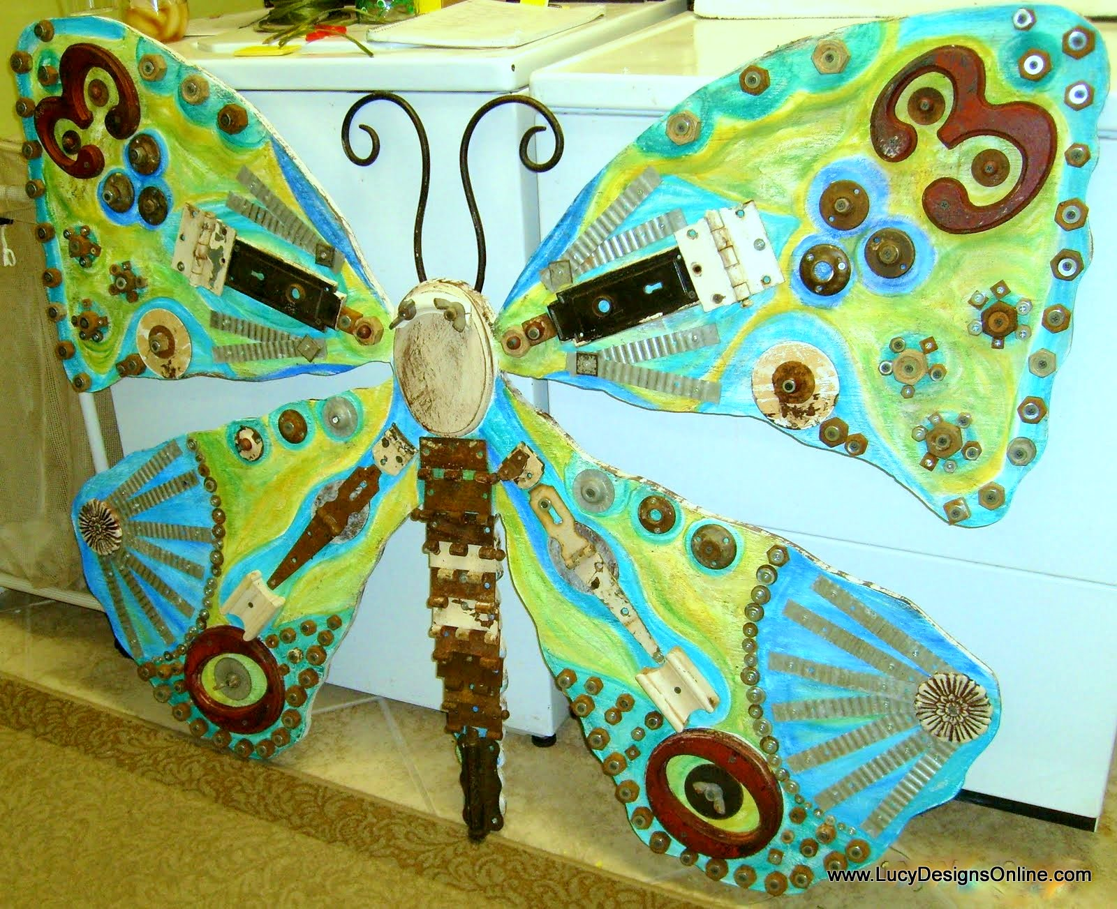 huge recycled butterfly art