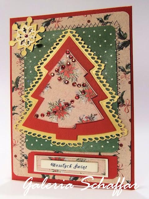 ręcznie robiona zdobna świąteczna kartka