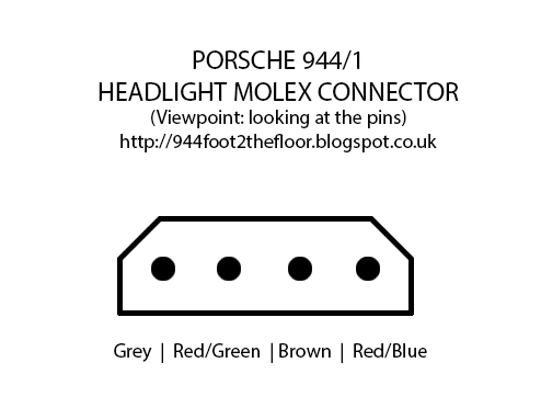 944 foot to the floor how to troubleshoot porsche 944 headlight the molex connector is wired in the following order shown in the picture below