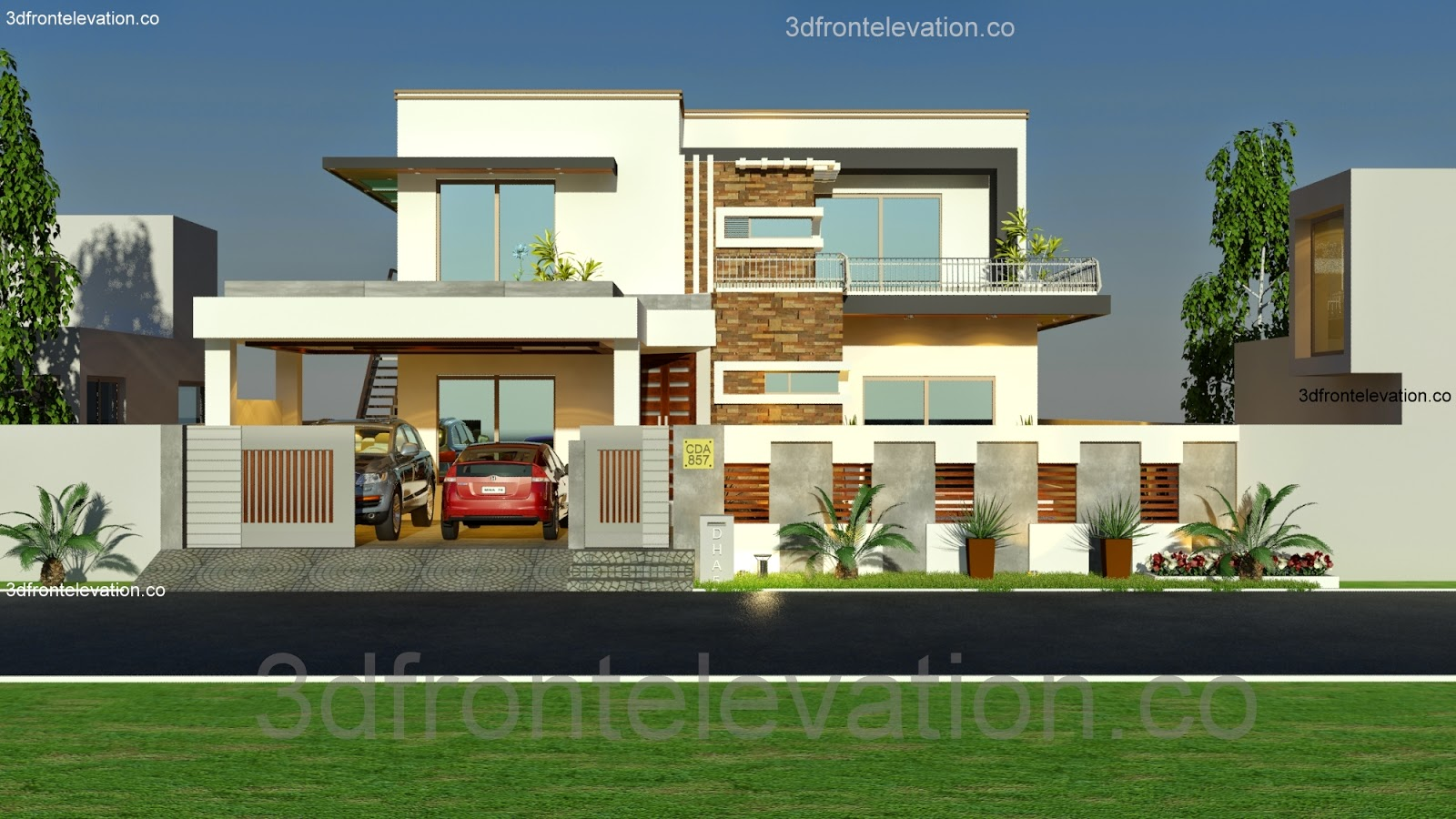 3d front 1 kanal house plan layout 50 39 x 90 for Home design ideas in pakistan