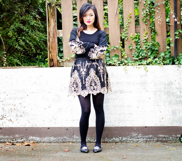 vancouver blogger jasmine zhu for posing in vintage wearing romwe baroque detail skirt and sweater