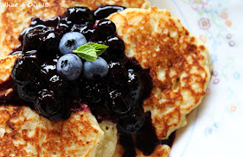 Lemon Ricotta Pancakes w/Blueberry Sauce