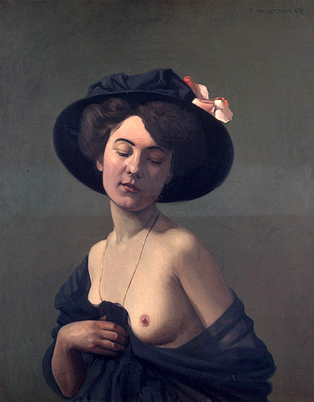 """Resultado de imagen de Félix Vallotton """"Mujer con sombrero negro"""" (1908)"""