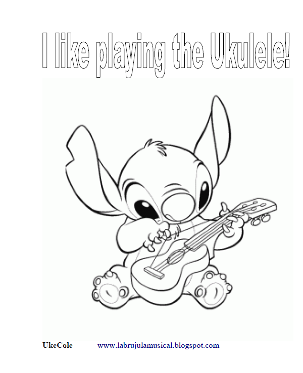 Stich tocando el ukelele para colorear. Stich playing the ukulele for drawing