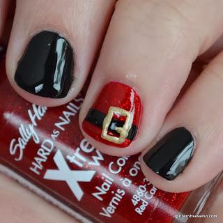 christmas nail art, santa belt nail art, sally hansen red carpet, sally hansen black heart
