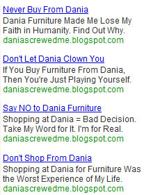 anti-dania furniture ads we ran on google adwords