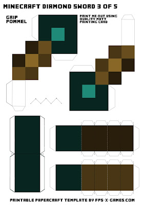 Minecraft diamond sword template 3 of 5