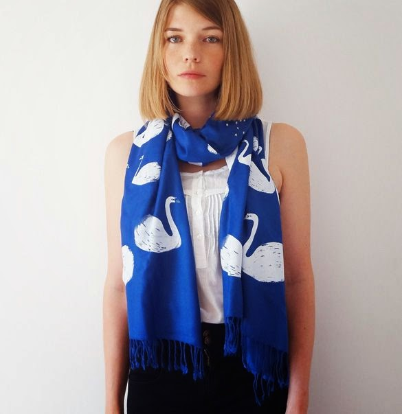 Swan Scarf in Blue - Bonbi Forest - 25% Off Easter Sale