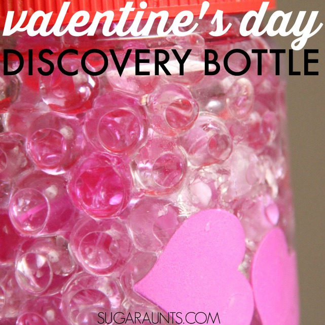 Valentine's Day Sensory Bottle with waterbeads and hearts