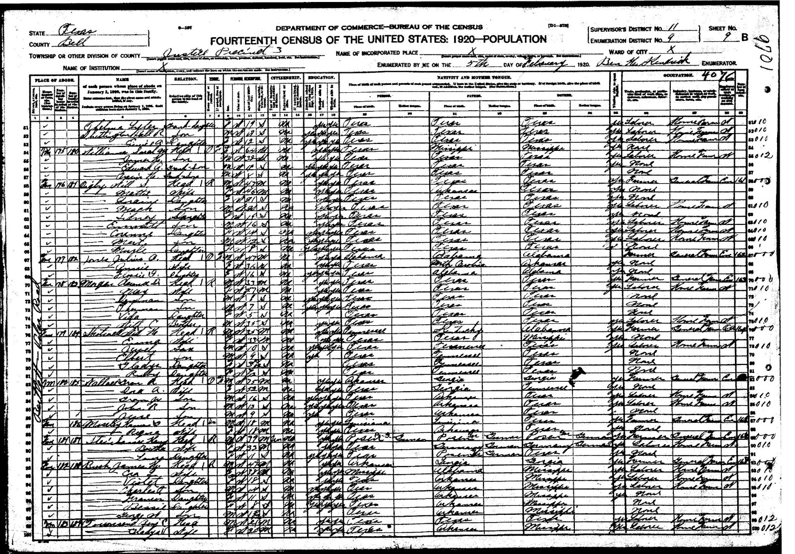 The family history of billy blair william seaborn digby basic 2 5 1920 bell county texas census top portion of page source ancestry grandison royston wallace family is also on this page xflitez Choice Image