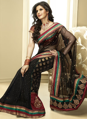 zarin khan black netted saree