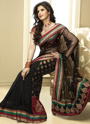 zarin khan black netted saree