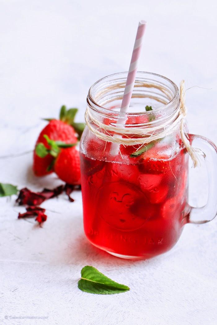 Téa de Jamaica y Fresas