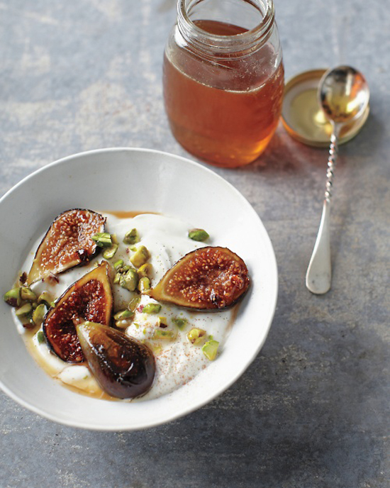 Honey-caramelized figs with yogurt © Johny Miller Whole Living magazine #recipe #figs #yogurt #honey