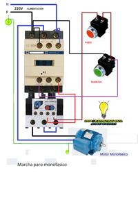 conexión de un motor monofasico de marcha paro