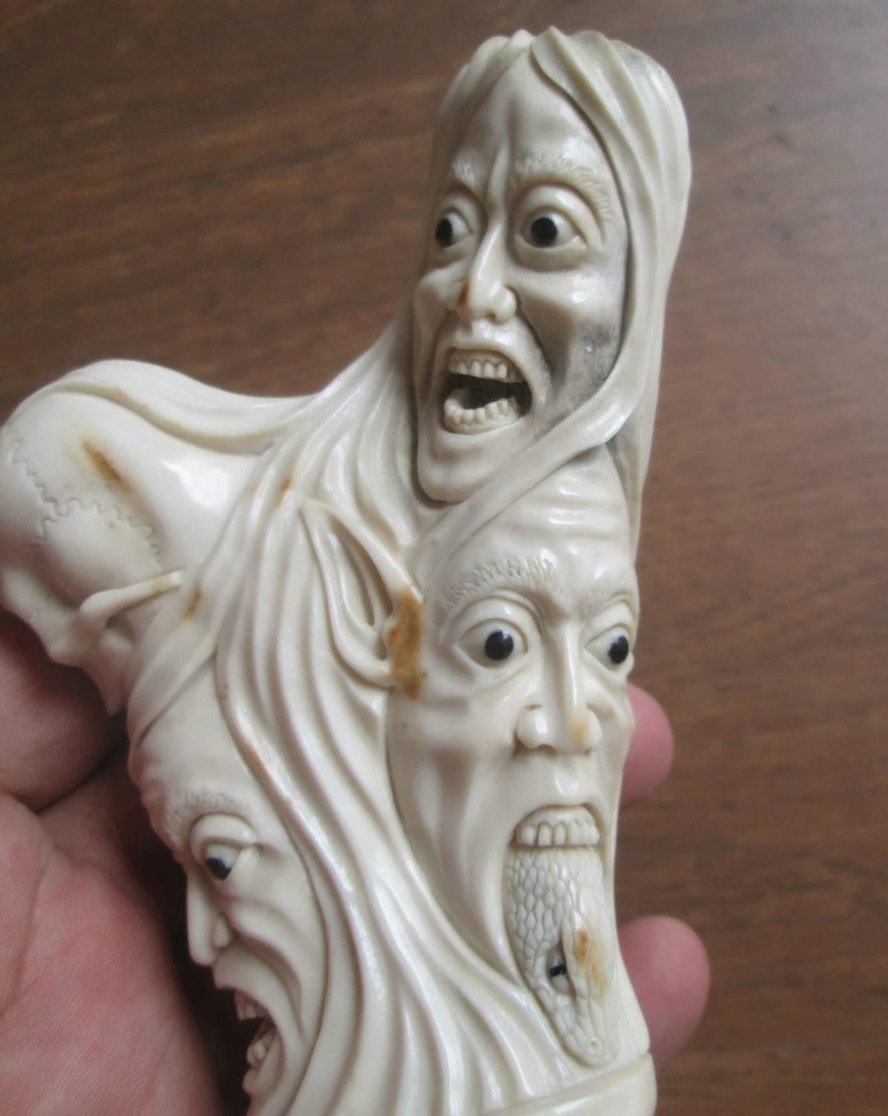 Snake Monster Skull Hand Carved Handle Carving
